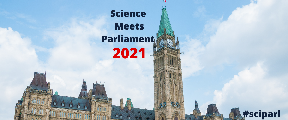 Parliament building with the text: Science Meets Parliament 2021, #sciparl