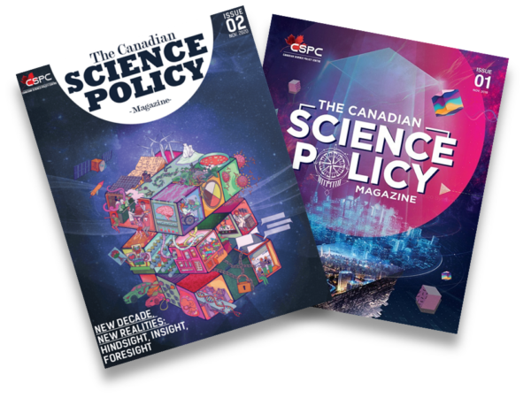 Picture depicts both Canadian Science Policy Magazine covers