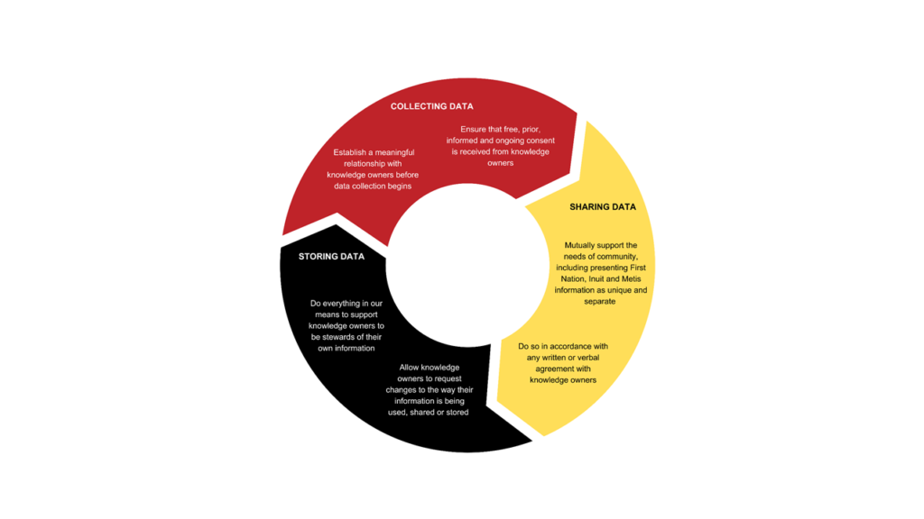 red, yellow and black arrows representing a cycle of data use across a study